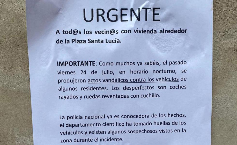 Folgado demana que s'incremente la seguretat a les nits davant els actes vandàlics produïts en la Pl. Santa Llúcia