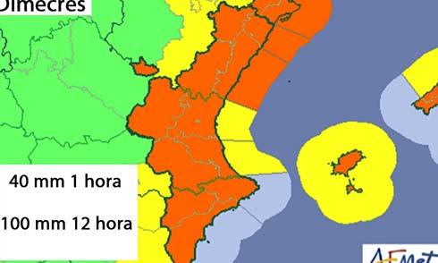 Torrent en alerta taronja per risc de fortes precipitacions