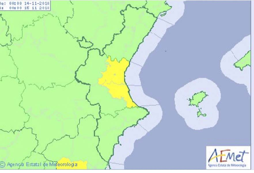 Activada l'alerta groga per pluges a Torrent
